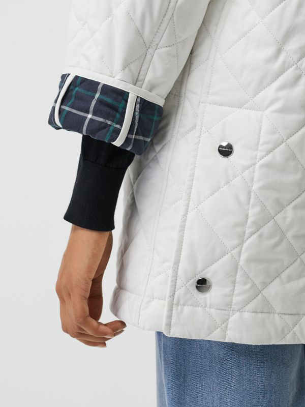 Diamond Quilted Oversized Hooded Parka in Ash White - Women | Burberry - cell image 3