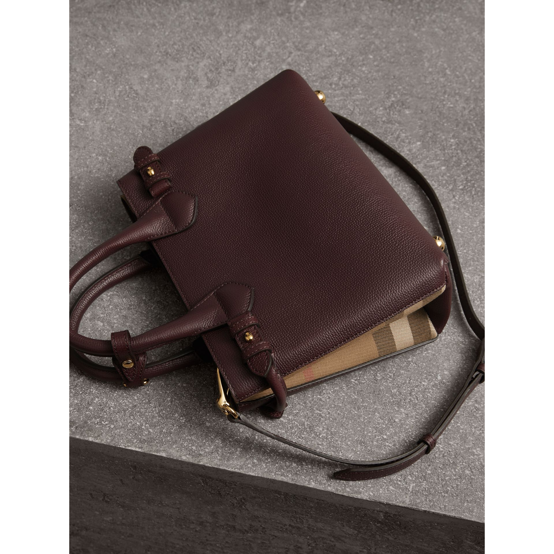 The Small Banner in Leather and House Check in Mahogany Red - Women | Burberry United Kingdom - gallery image 3
