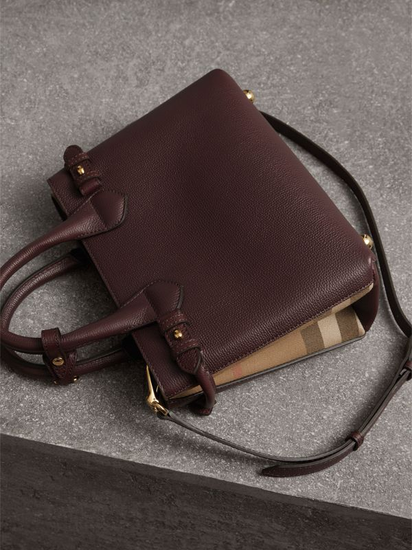 The Small Banner in Leather and House Check in Mahogany Red - Women | Burberry United Kingdom - cell image 3