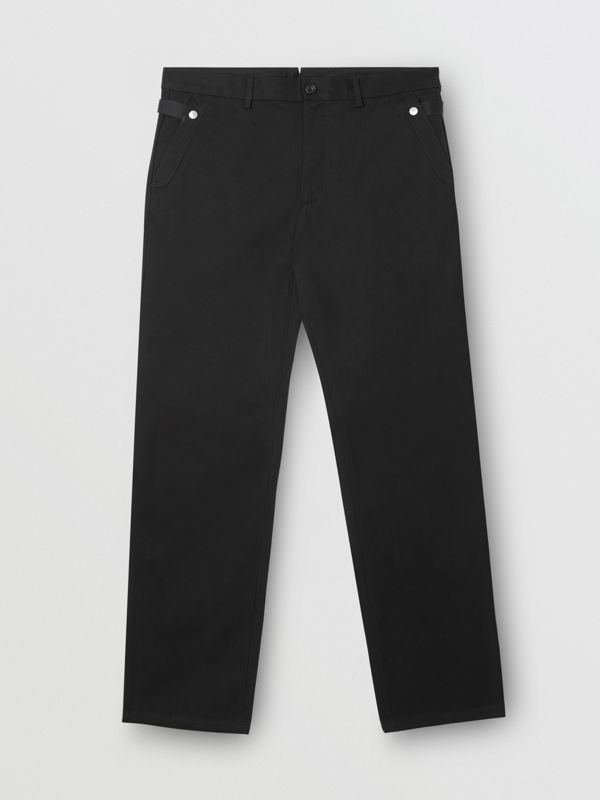 Classic Fit Cotton Chinos in Black - Men | Burberry - cell image 3