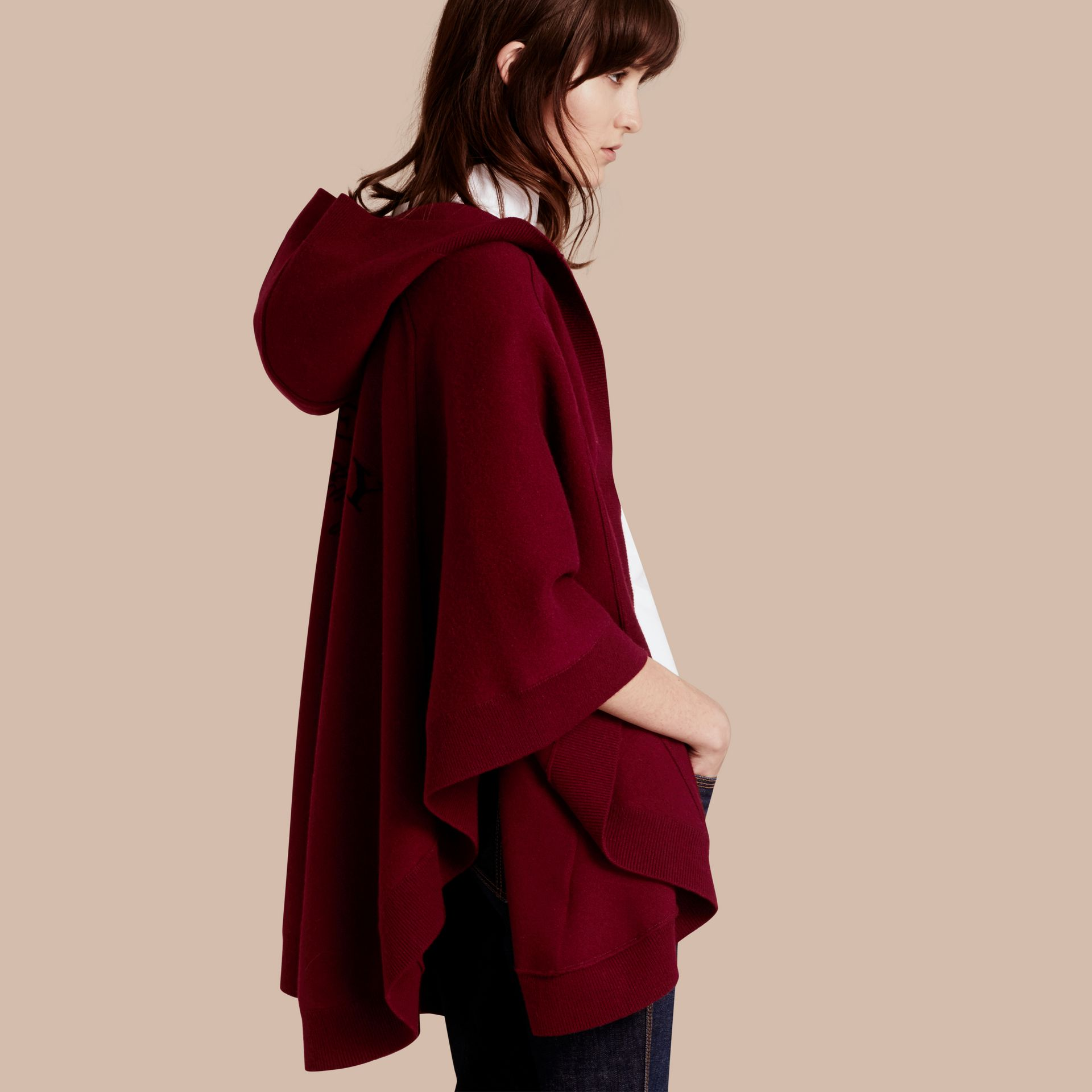 Wool Cashmere Blend Hooded Poncho in Deep Red - Women | Burberry Australia - gallery image 1
