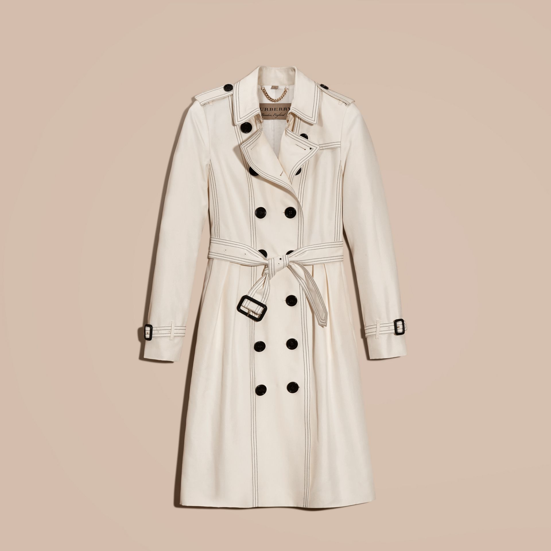 Parchment Silk Trench Coat with Topstitch Detail - gallery image 4