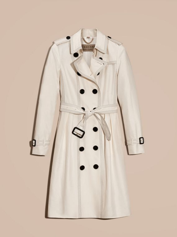 Parchment Silk Trench Coat with Topstitch Detail - cell image 3