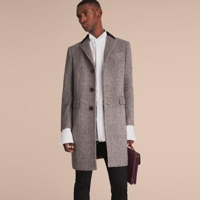 Velvet Collar Wool Tweed Topcoat in Black - Men | Burberry United ...