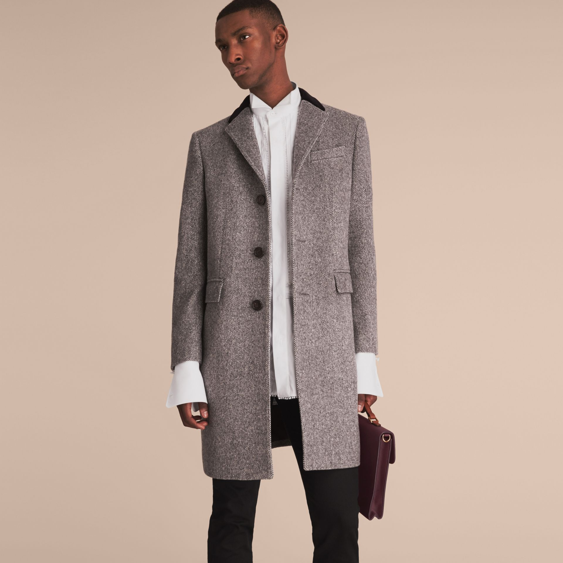 Velvet Collar Wool Tweed Topcoat in Black - Men | Burberry - gallery image 8