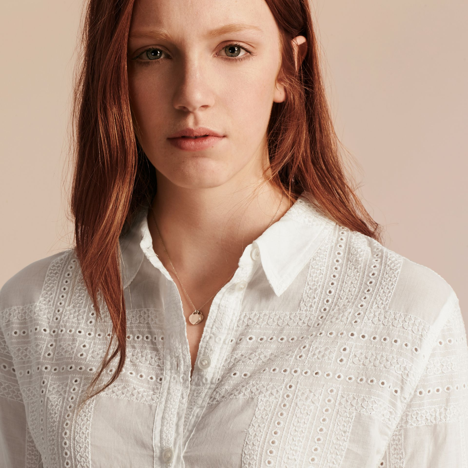 Natural white Check Cotton Broderie Anglaise Shirt - gallery image 5