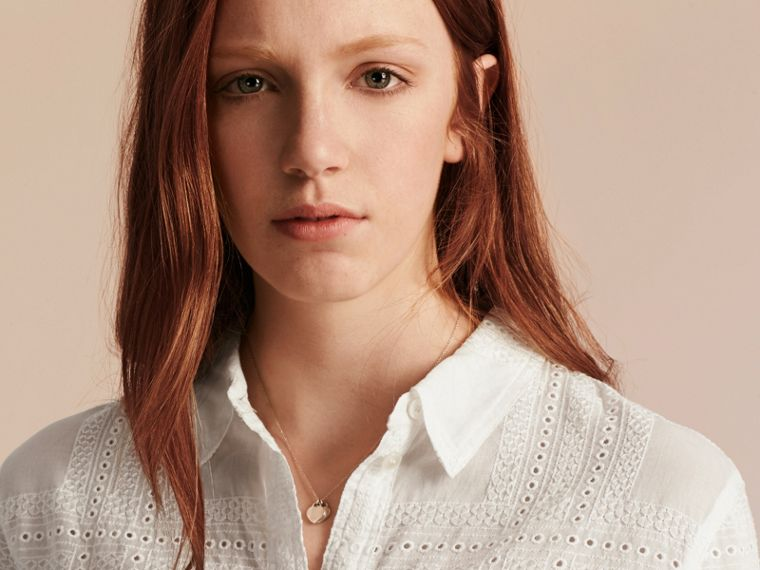 Check Cotton Broderie Anglaise Shirt - cell image 4