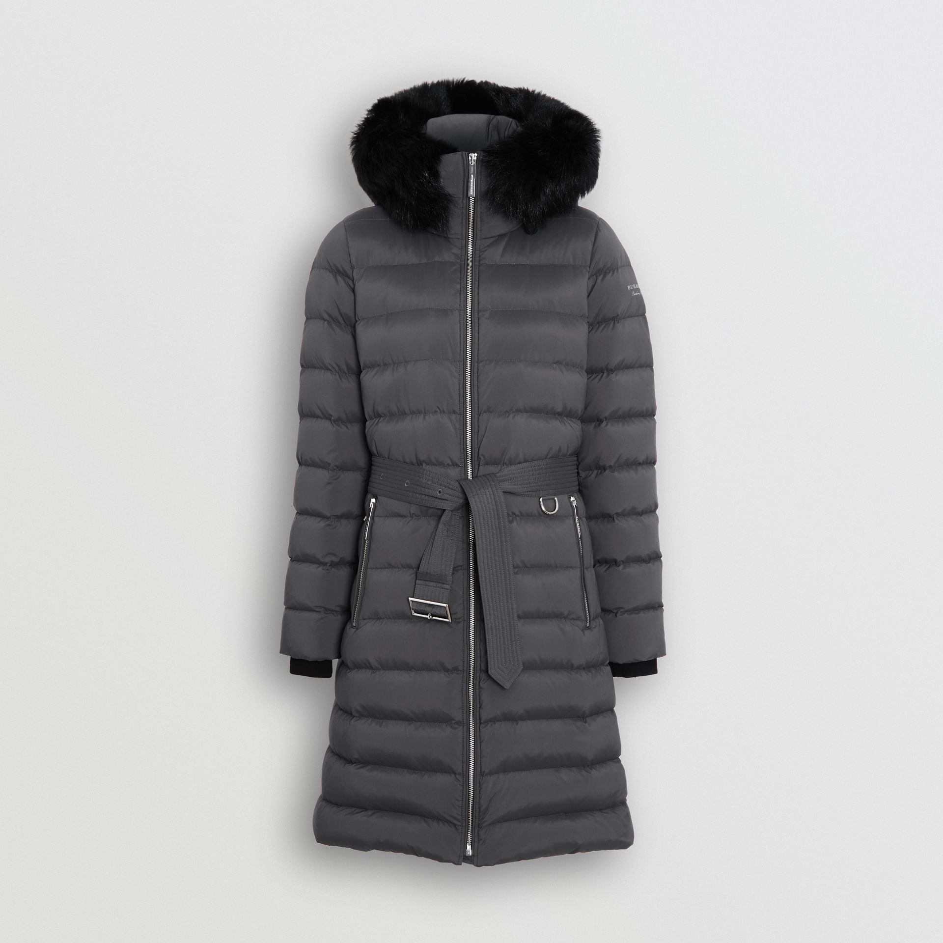 Detachable Shearling Trim Down-filled Puffer Coat in Mid Grey - Women | Burberry Australia - gallery image 3