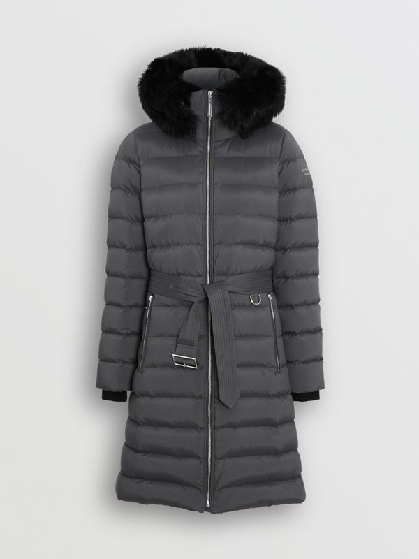 Detachable Shearling Trim Down-filled Puffer Coat in Mid Grey - Women | Burberry - cell image 3