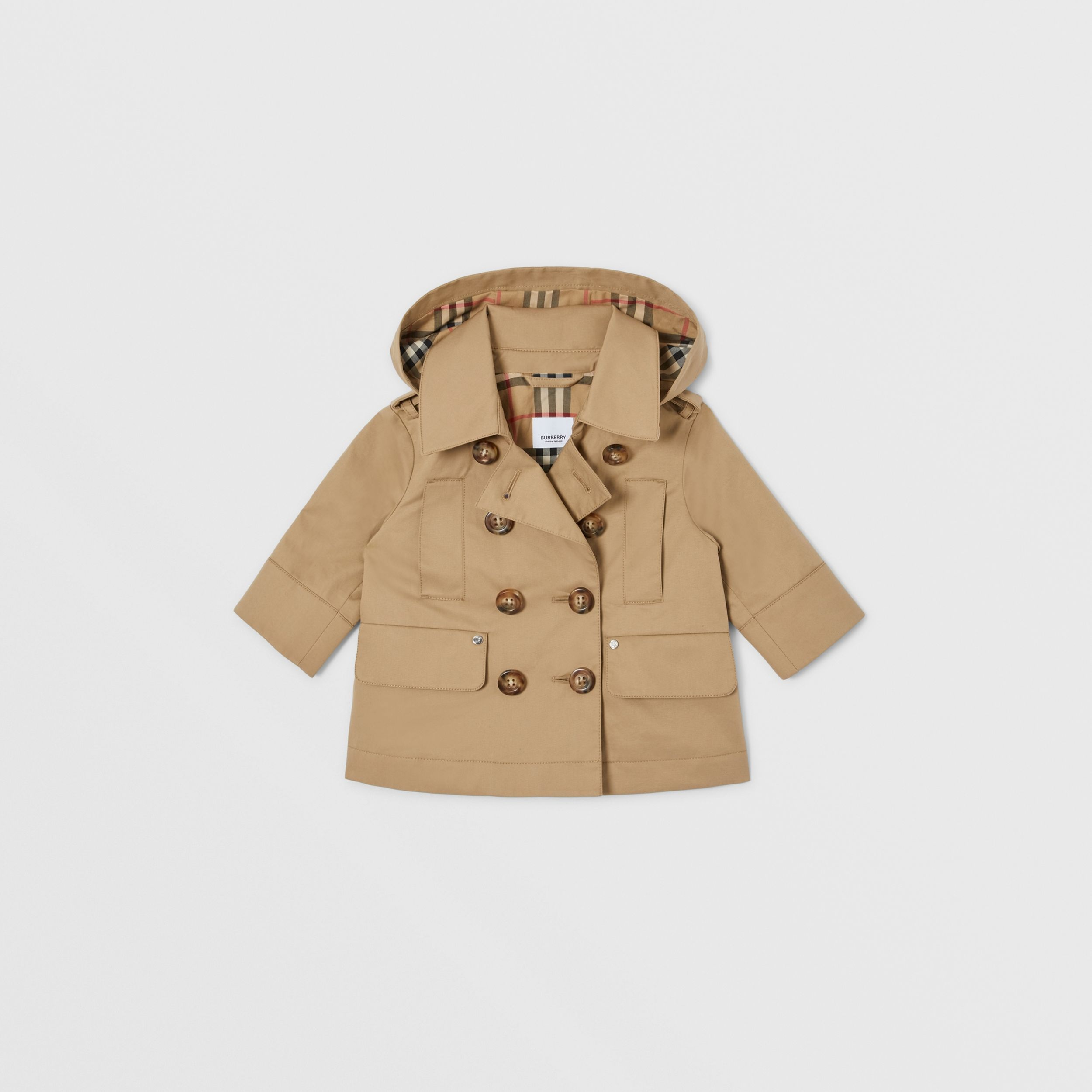 Cotton Twill Hooded Trench Coat in Honey - Children | Burberry - 1