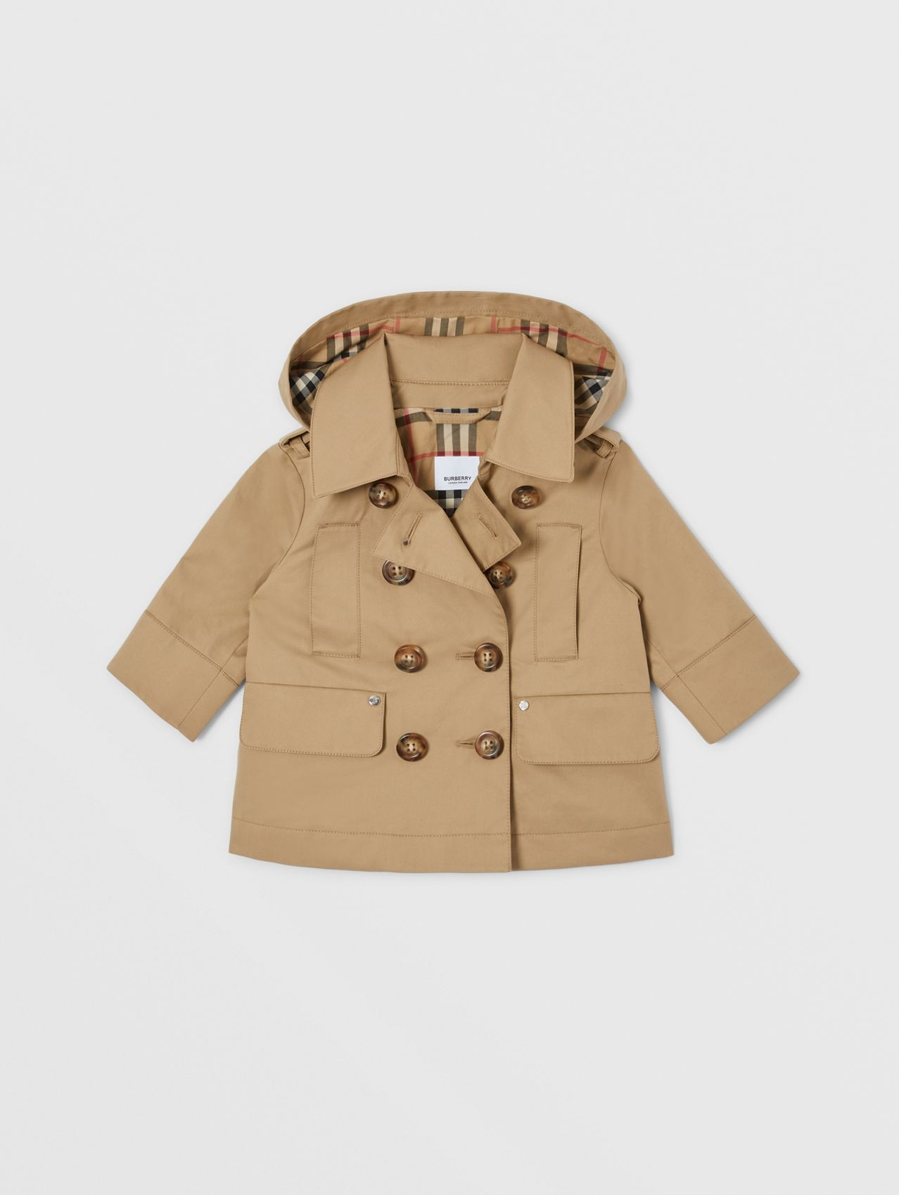 Cotton Twill Hooded Trench Coat in Honey