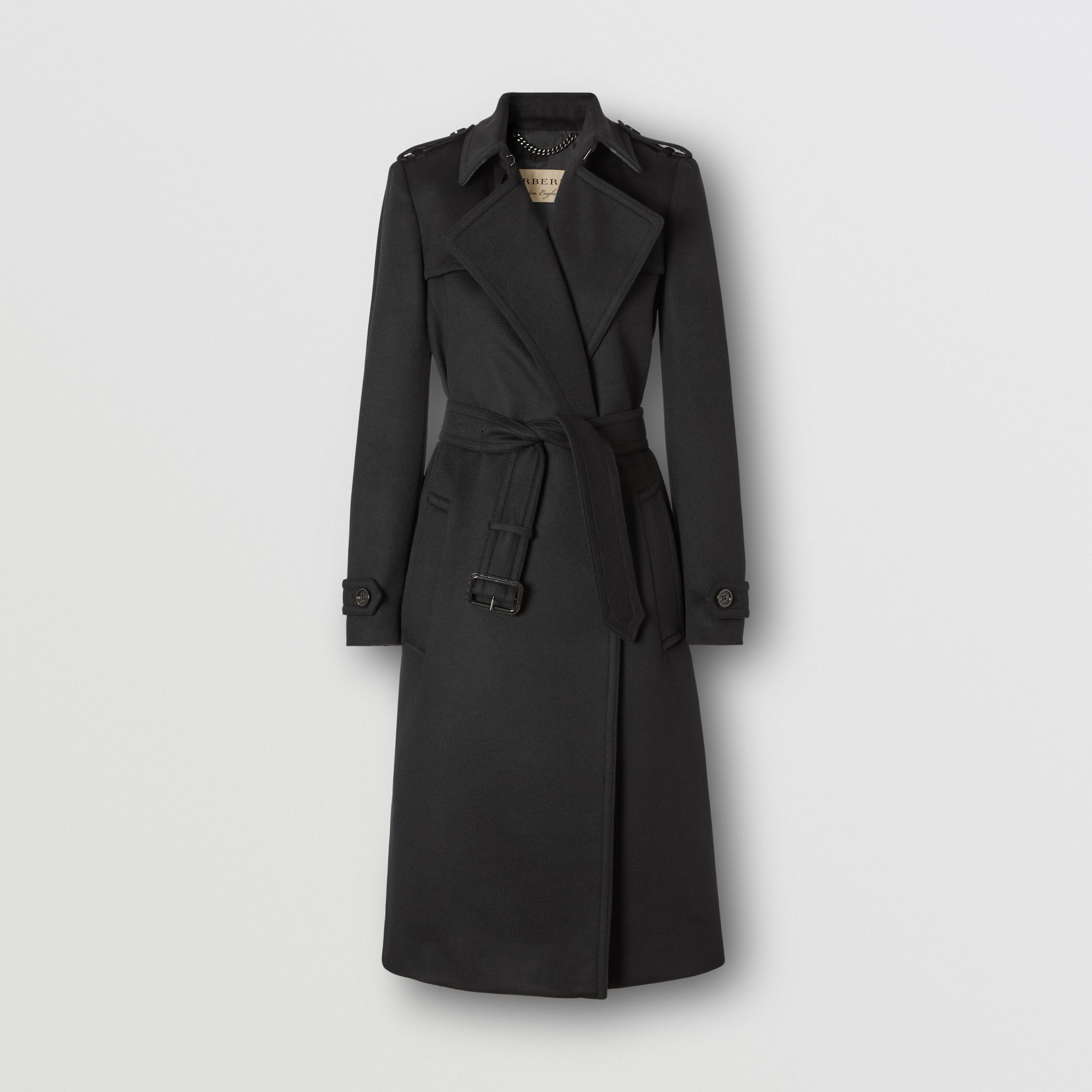 Wool Cashmere Trench Coat in Black - Women | Burberry - 1
