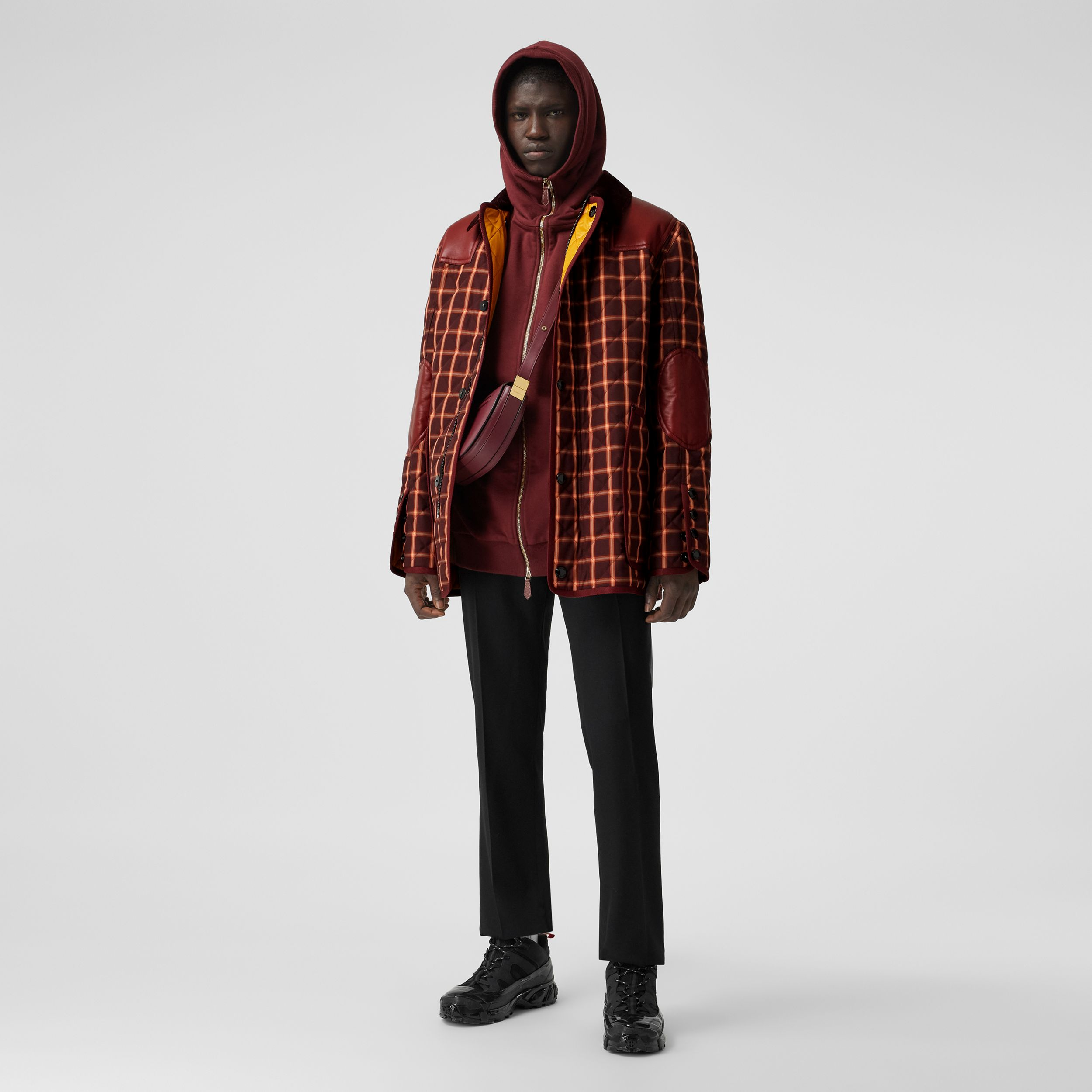 Lambskin Trim Check Technical Cotton Barn Jacket in Burgundy | Burberry Canada - 1