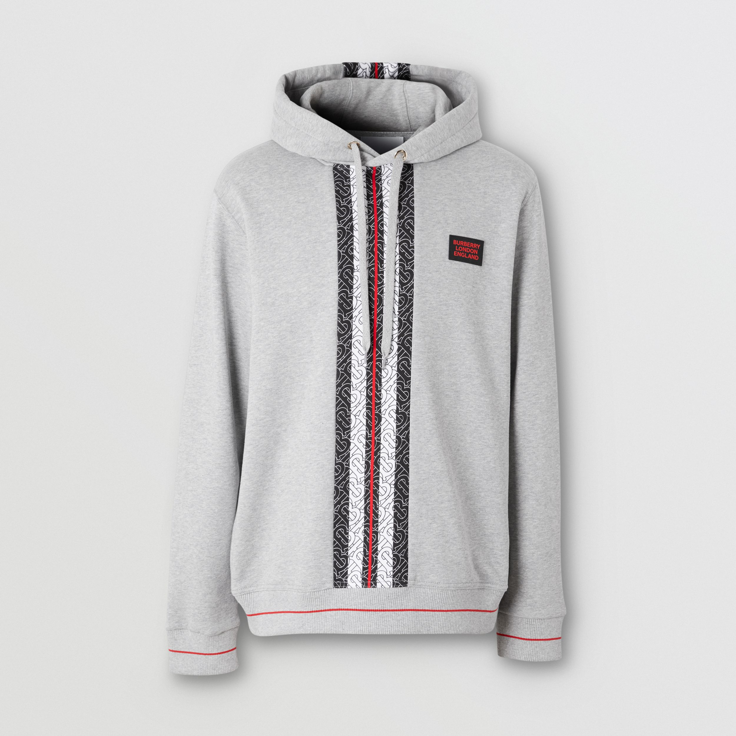 Monogram Stripe Panel Cotton Hoodie in Pale Grey Melange - Men | Burberry - 4