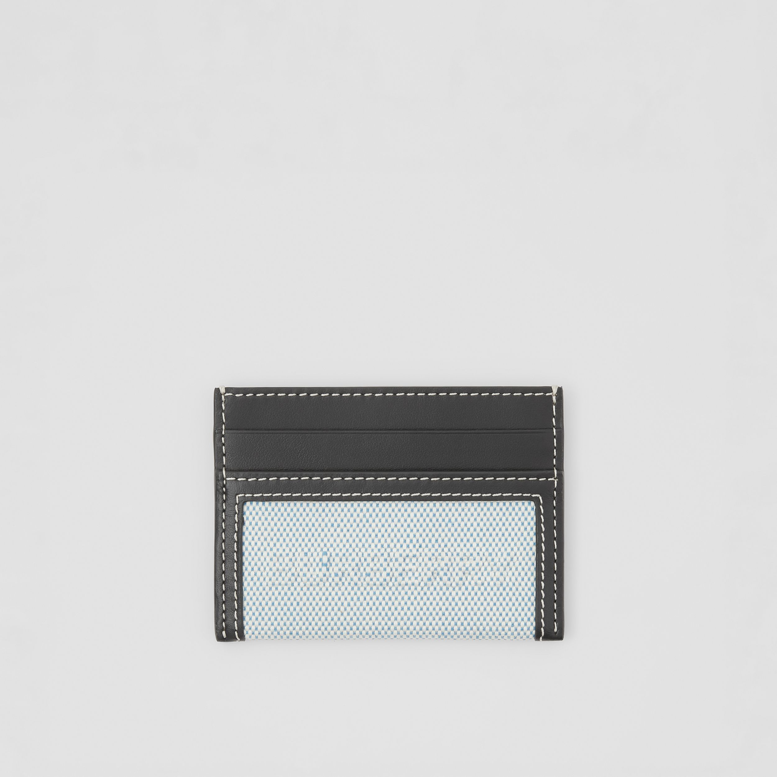 Debossed Logo Cotton Canvas and Leather Card Case in Vivid Cobalt - Women | Burberry - 1