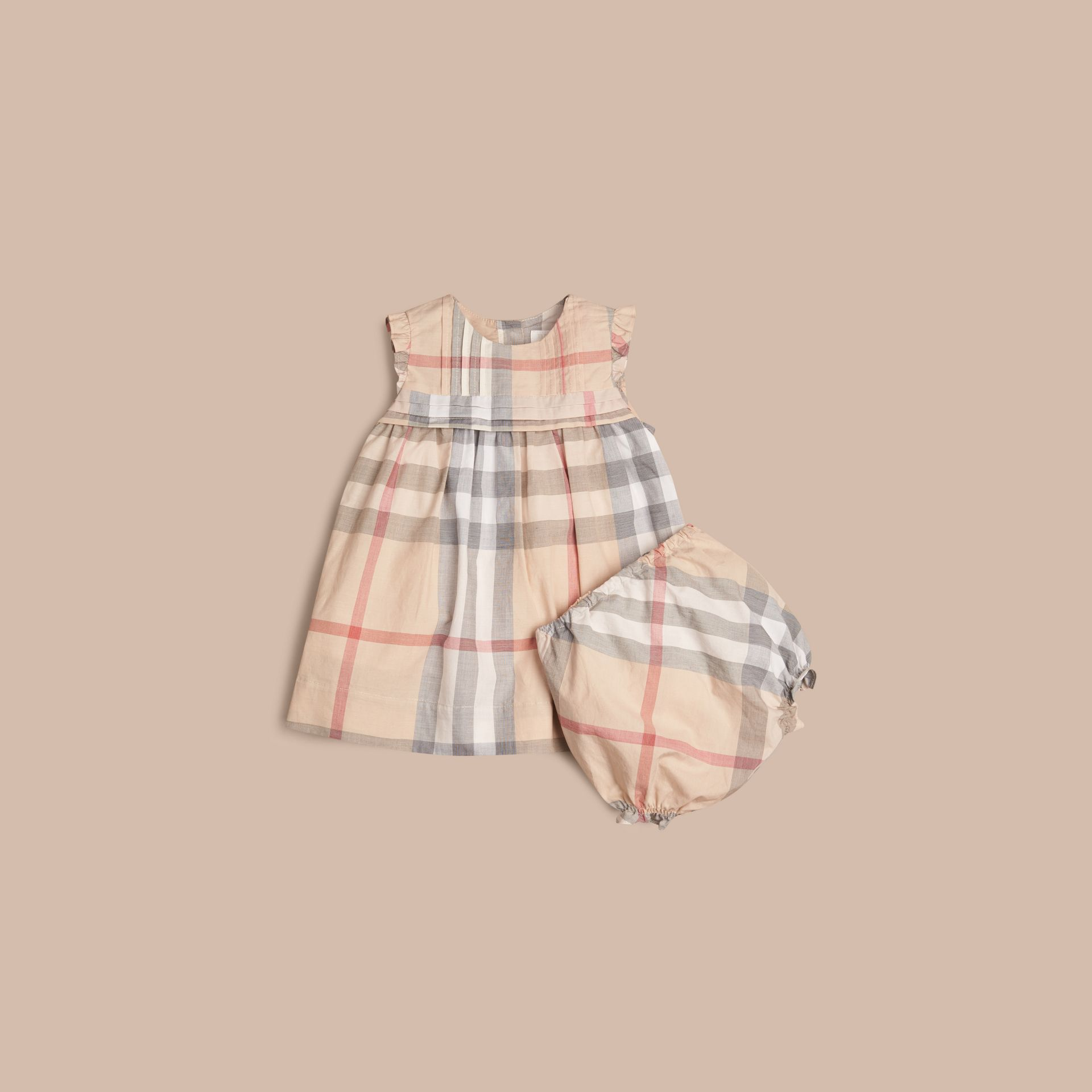 Pale stone Check Cotton Dress and Bloomers - gallery image 1