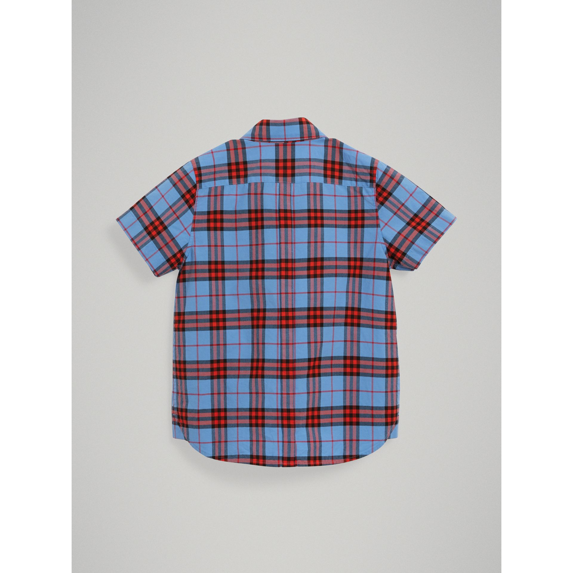 Short-sleeve Check Cotton Shirt in Cornflower Blue - Boy | Burberry - gallery image 3