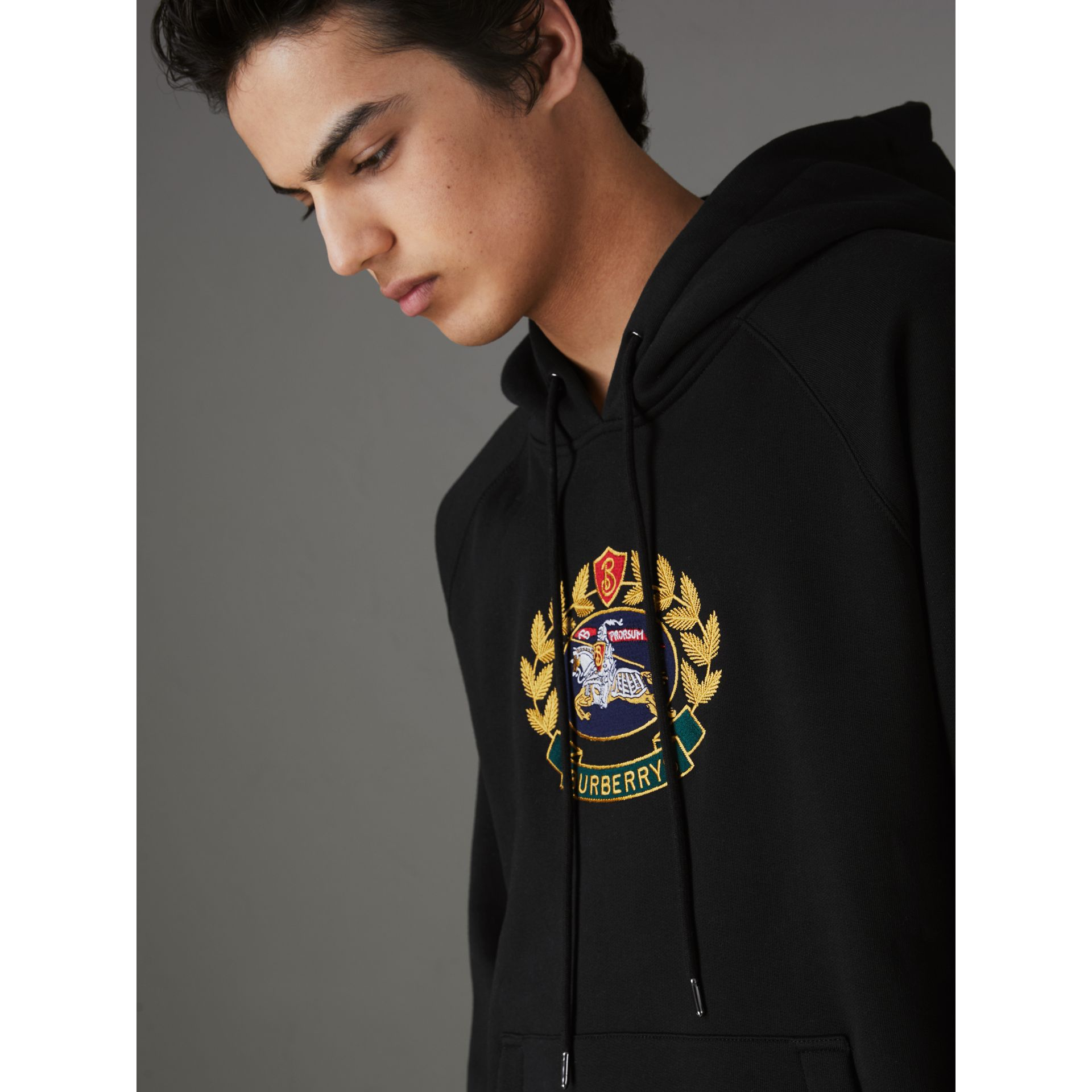 Embroidered Archive Logo Jersey Hoodie in Black - Men | Burberry - gallery image 1