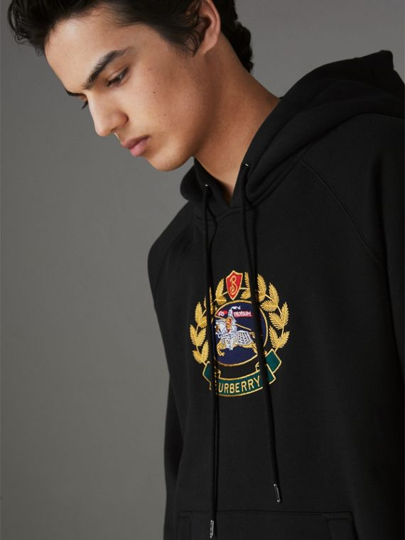 Embroidered Archive Logo Jersey Hoodie in Black