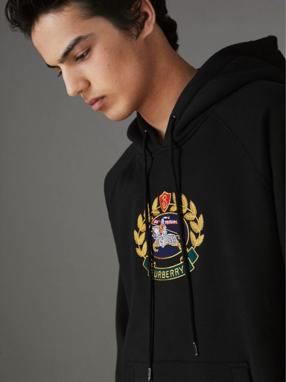 Embroidered Archive Logo Jersey Hoodie in Black - Men | Burberry - cell image 1