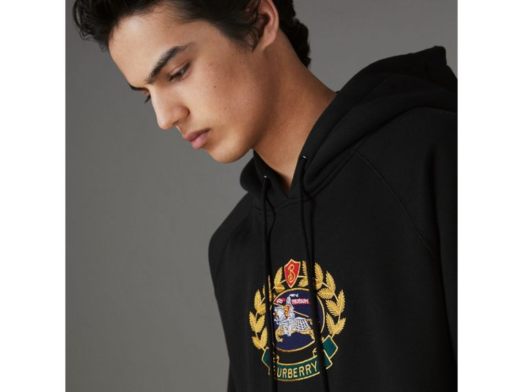 Embroidered Archive Logo Jersey Hoodie in Black - Men | Burberry Australia - cell image 1