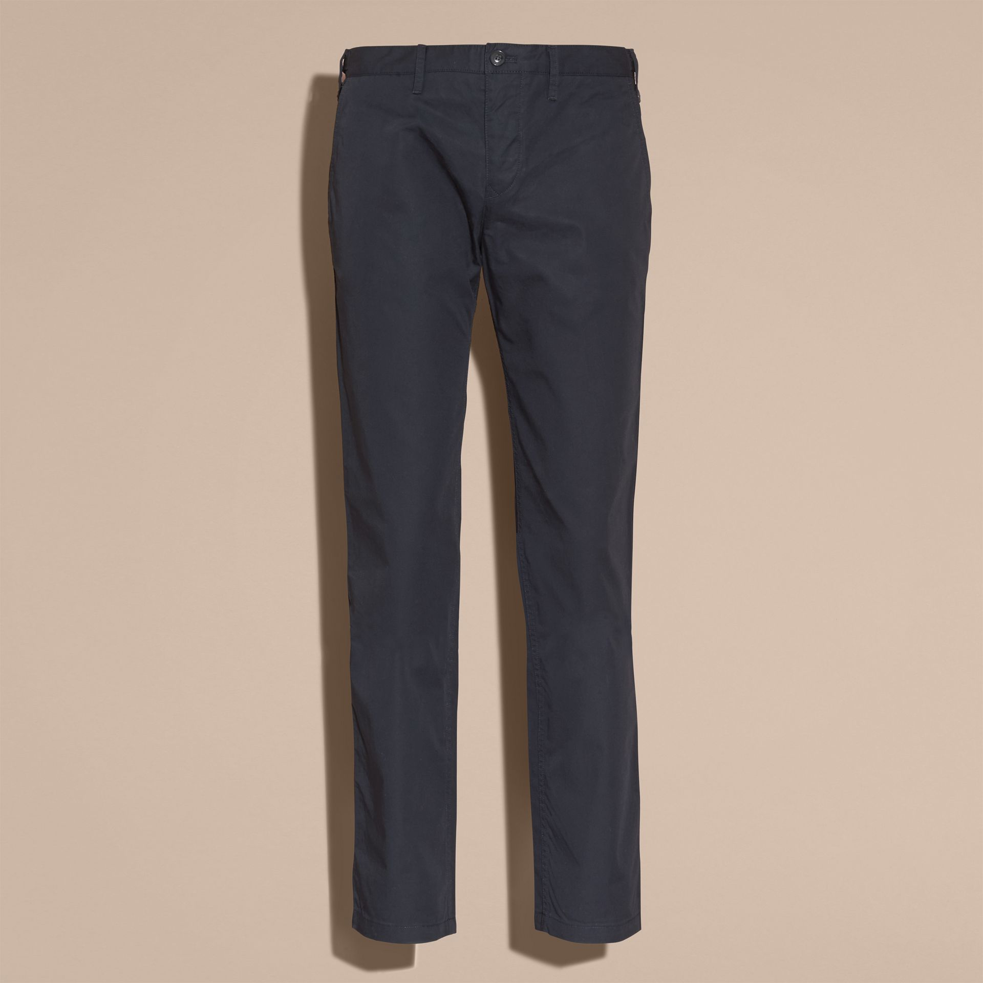 Straight Fit Cotton Chinos in Ink - Men | Burberry United Kingdom - gallery image 4