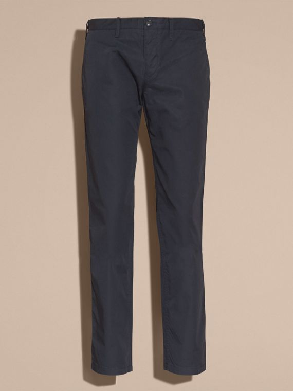 Straight Fit Cotton Chinos in Ink - Men | Burberry Singapore - cell image 3