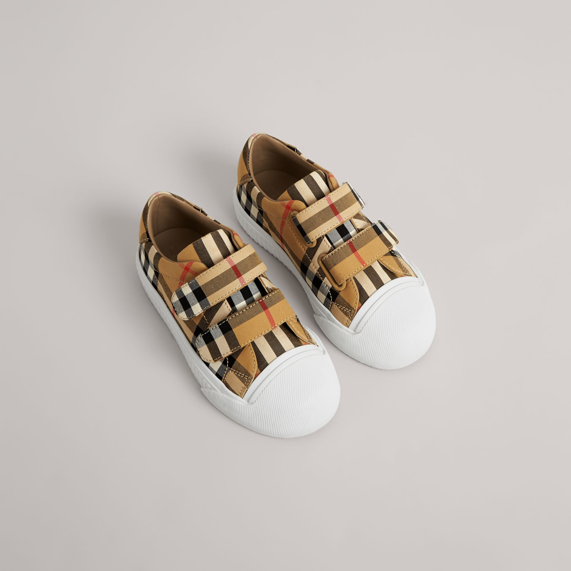 Vintage Check and Leather Sneakers in Antique Yellow/optic White | Burberry Australia - gallery image 0