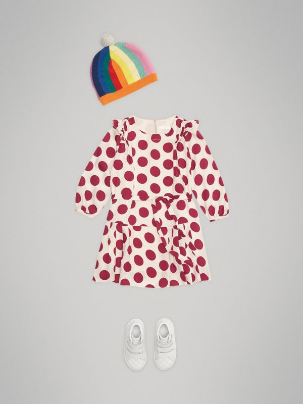 Polka Dot Print Silk Crepe Dress in Windsor Red | Burberry - cell image 2