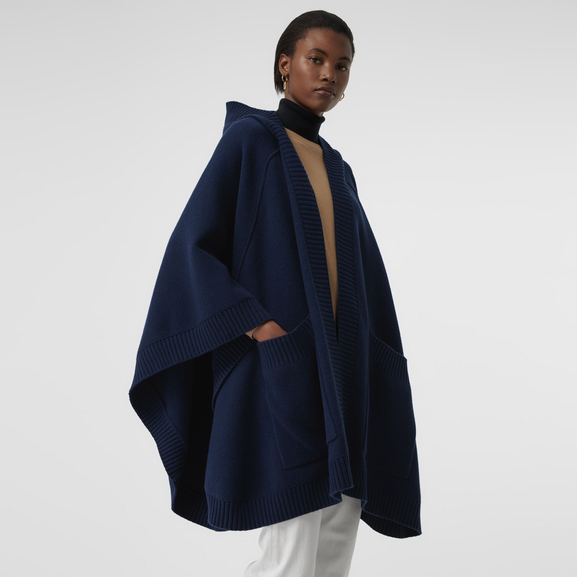 Crest Jacquard Wool Blend Hooded Cape in Navy - Women | Burberry - gallery image 2