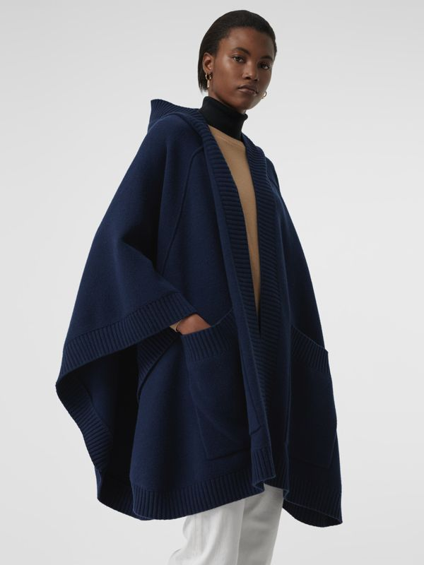 Crest Jacquard Wool Blend Hooded Cape in Navy - Women | Burberry - cell image 2