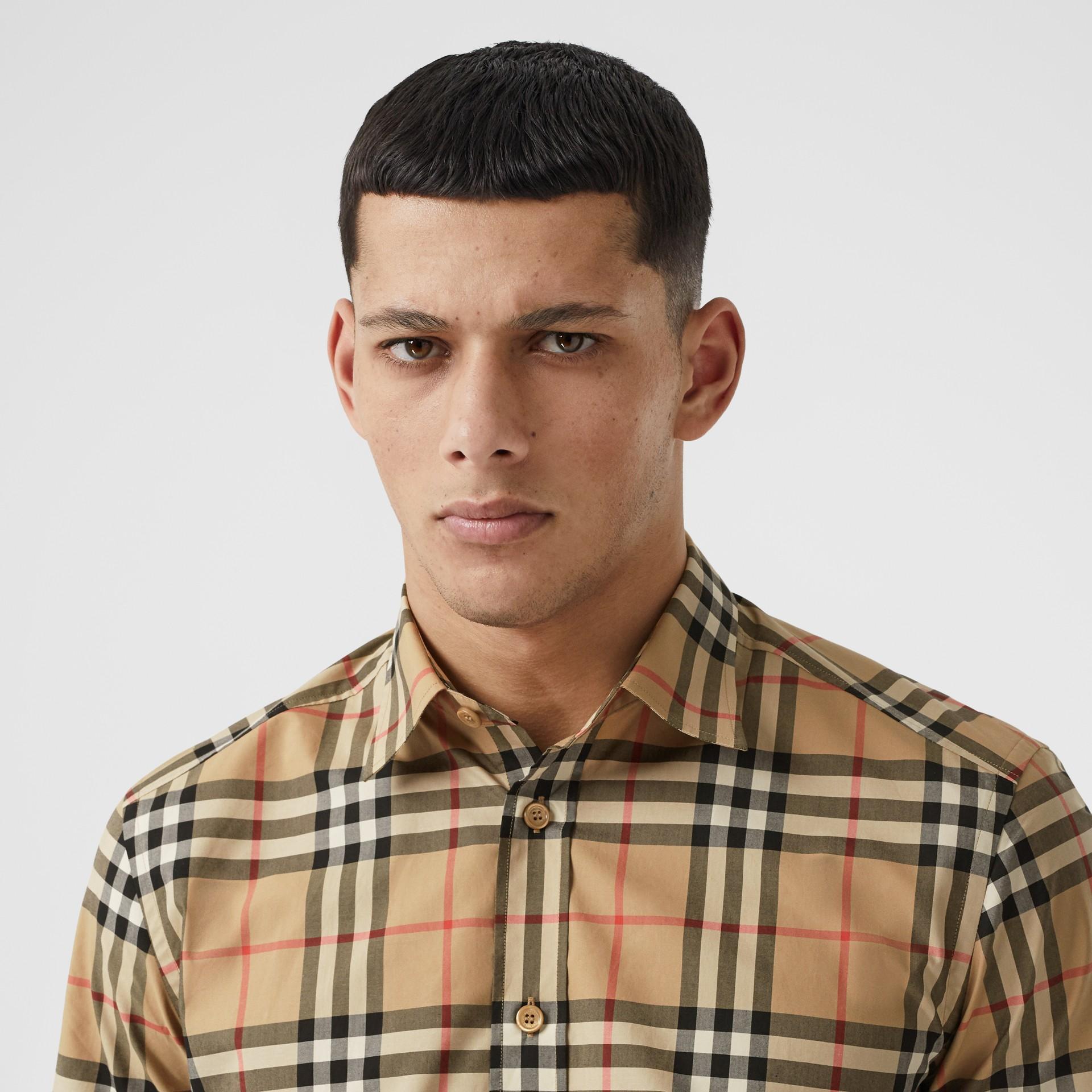 Short-sleeve Check Cotton Poplin Shirt in Archive Beige - Men   Burberry United Kingdom - gallery image 1