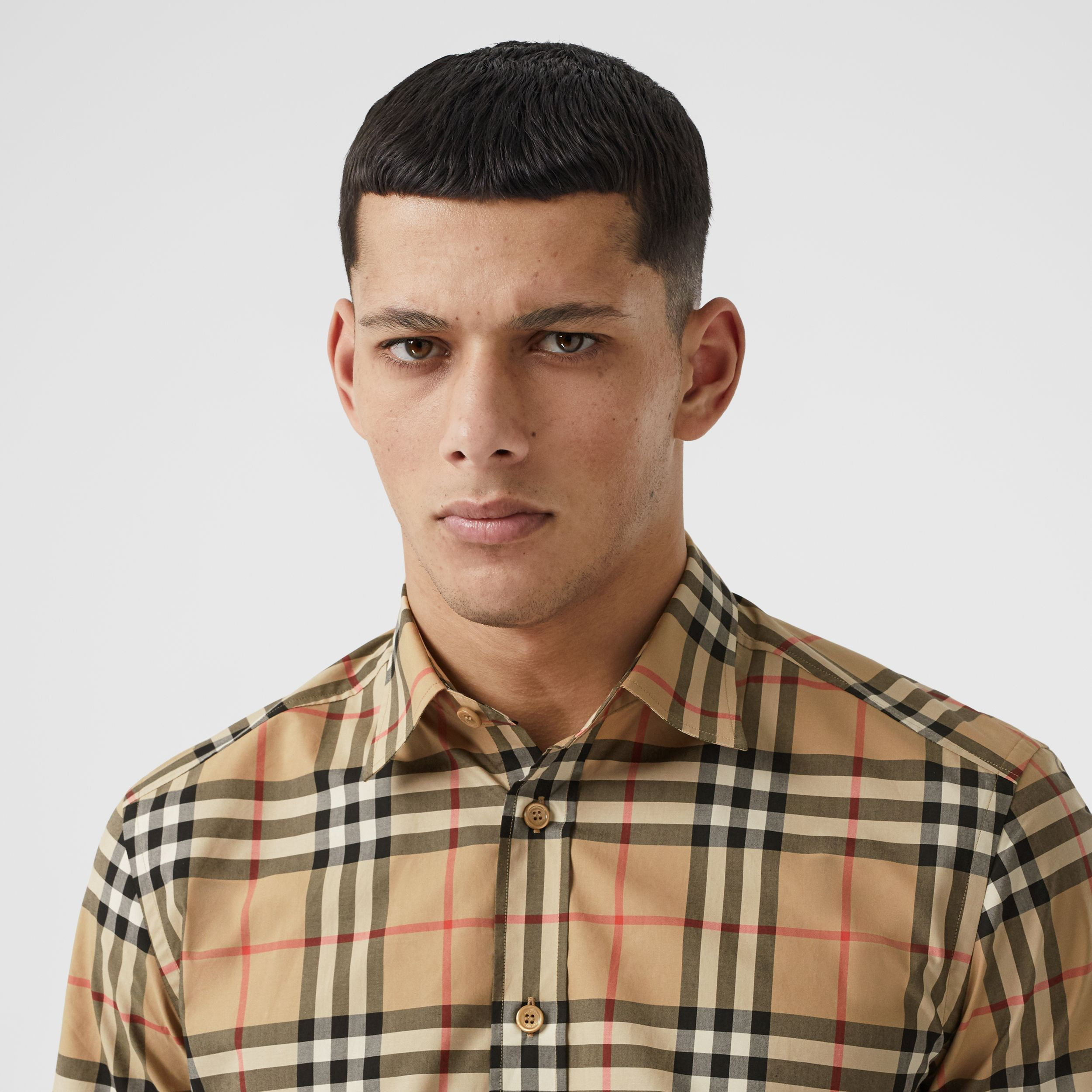 Short-sleeve Check Cotton Poplin Shirt in Archive Beige - Men | Burberry - 2