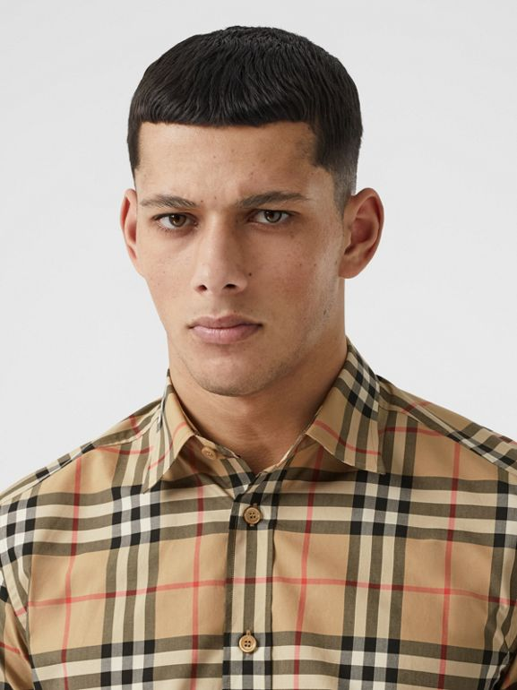 Short-sleeve Check Cotton Poplin Shirt in Archive Beige - Men   Burberry United Kingdom - cell image 1