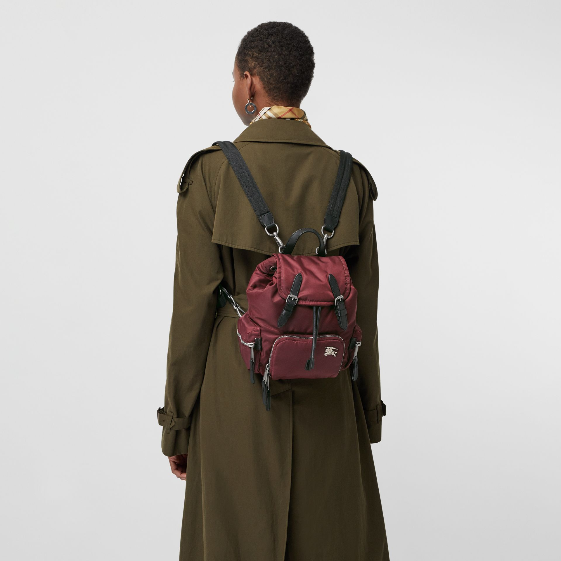 The Small Crossbody Rucksack in Puffer Nylon in Burgundy Red - Women | Burberry United Kingdom - gallery image 3