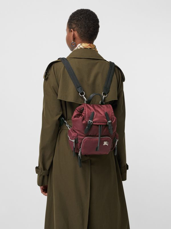 The Small Crossbody Rucksack in Puffer Nylon in Burgundy Red - Women | Burberry - cell image 3