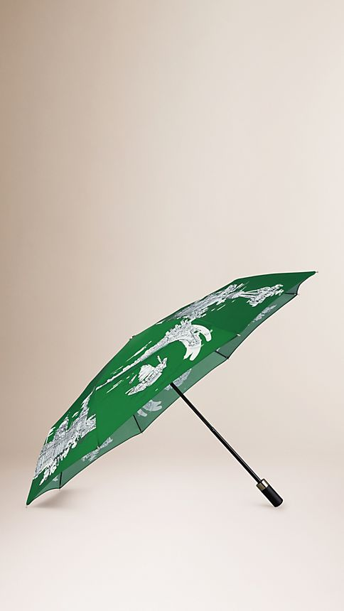 Bright cedar green Shanghai Landmarks Folding Umbrella - Image 1