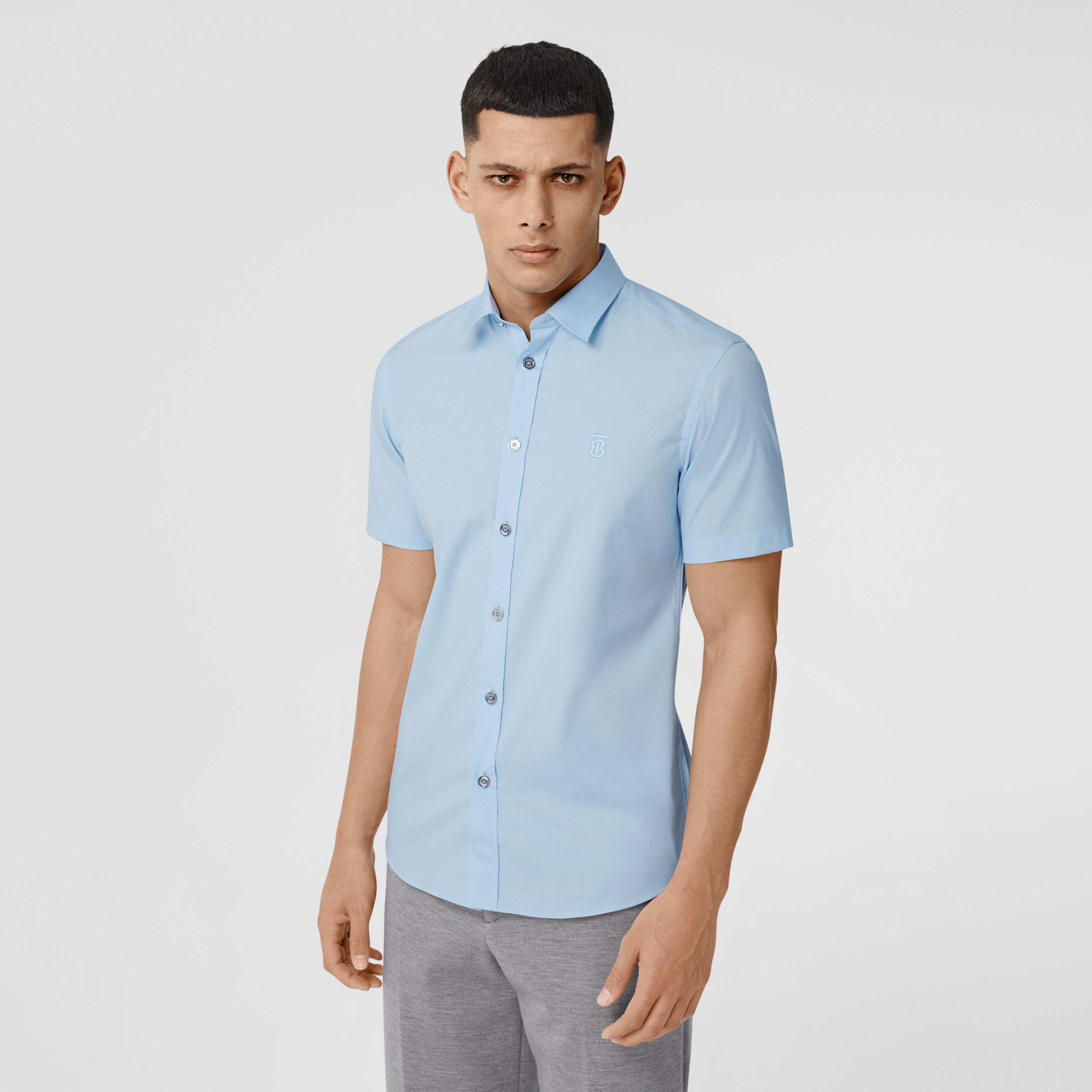 Short-sleeve Monogram Motif Stretch Cotton Shirt in Pale Blue - Men | Burberry Australia - 1