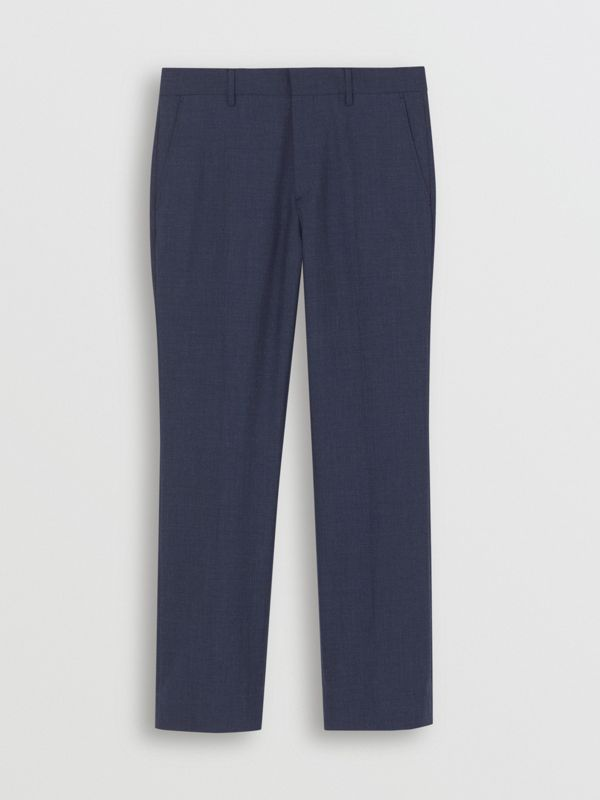 Classic Fit Wool Mohair Tailored Trousers in Steel Blue Melange - Men | Burberry United States - cell image 2