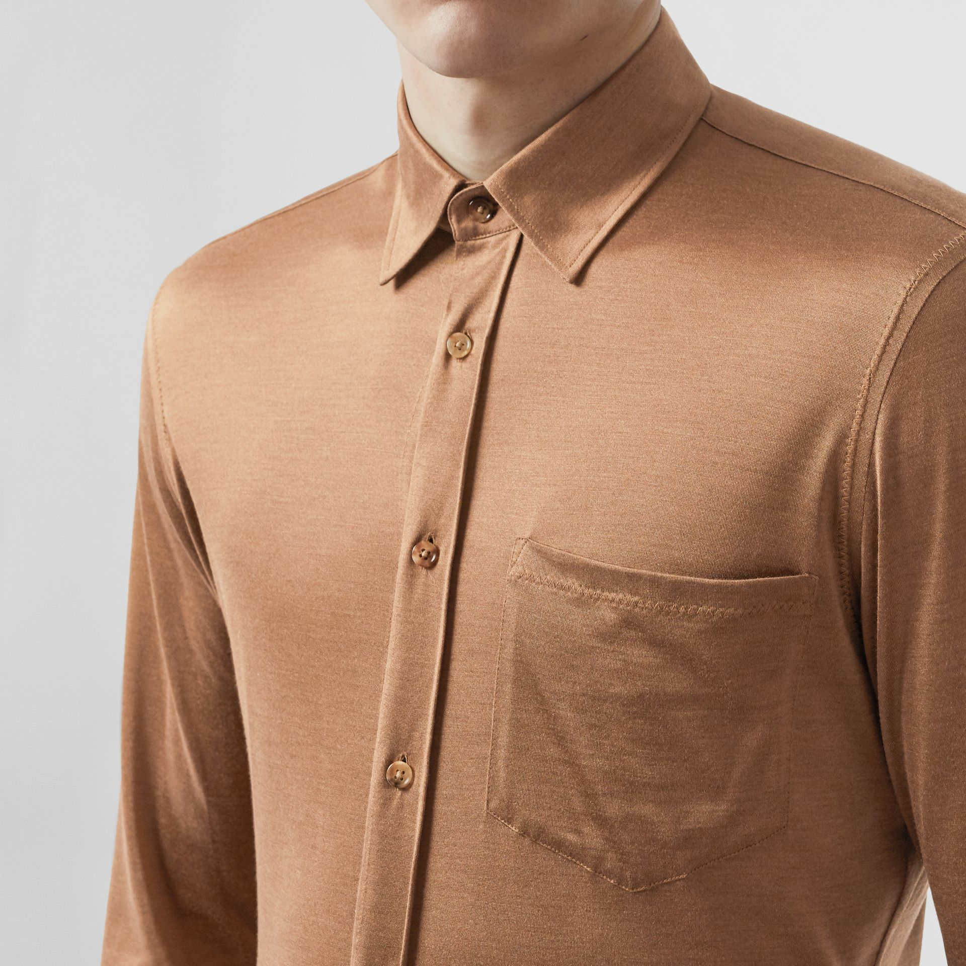 Classic Fit Silk Jersey Shirt in Warm Camel - Men | Burberry - gallery image 1