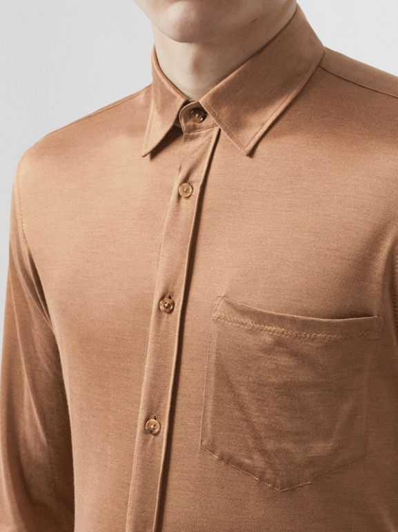 Classic Fit Silk Jersey Shirt in Warm Camel - Men | Burberry Singapore - cell image 1