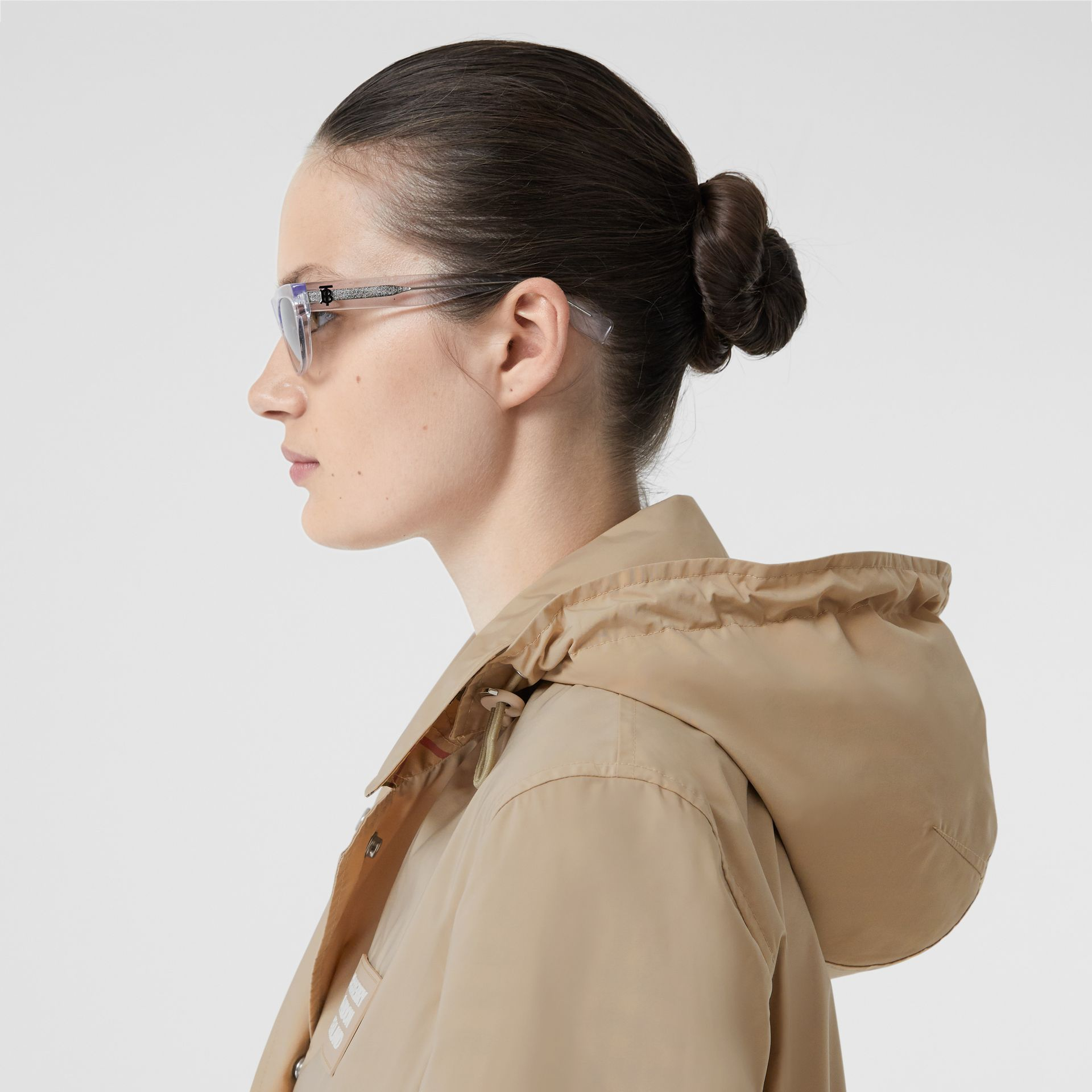 Detachable Hood Shape-memory Taffeta Car Coat in Dusty Beige - Women | Burberry Australia - gallery image 1