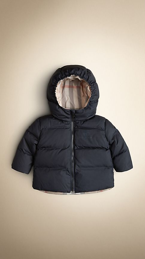 Navy Check-Lined Puffer Jacket - Image 1
