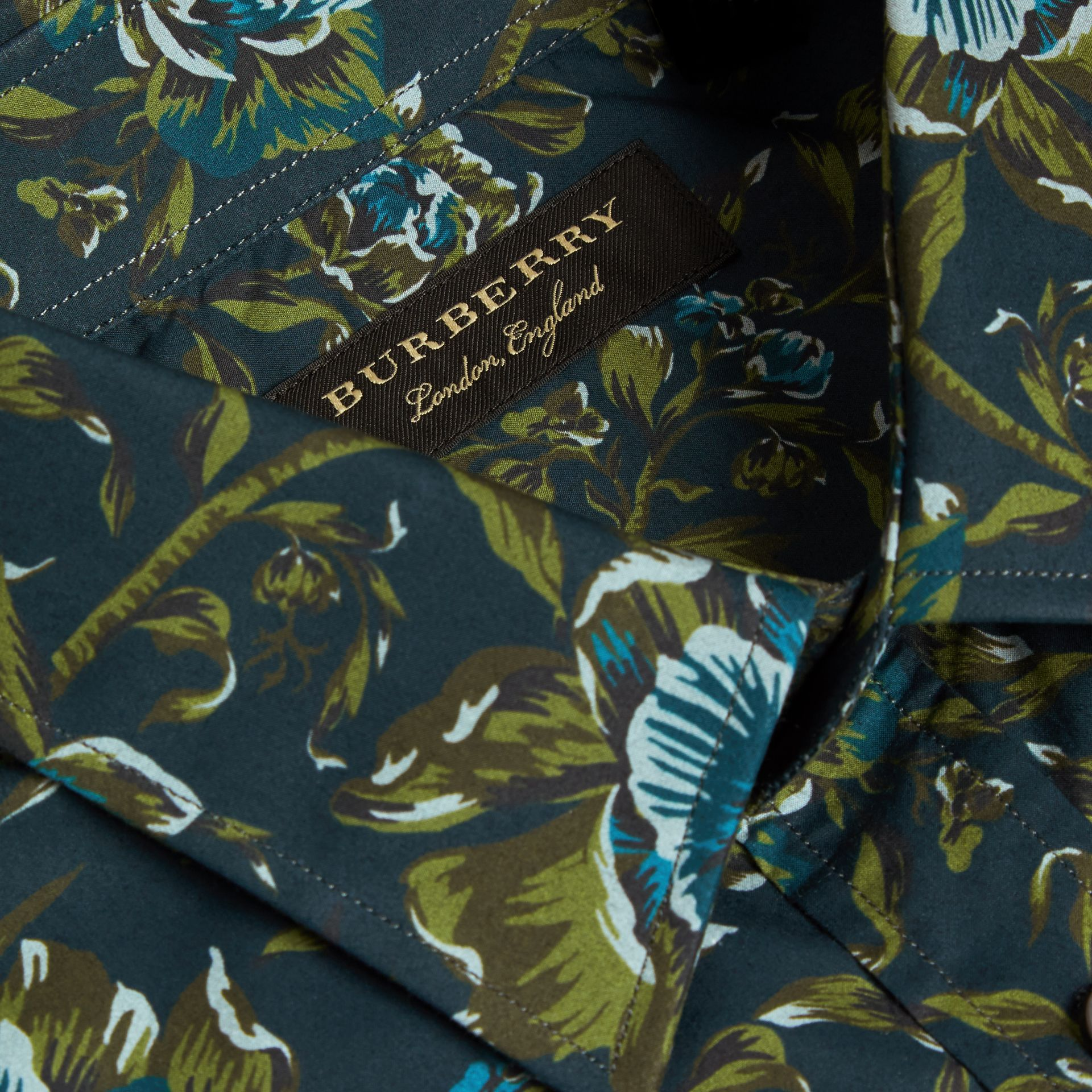 Dark teal green Peony Rose Print Cotton Poplin Shirt - gallery image 2