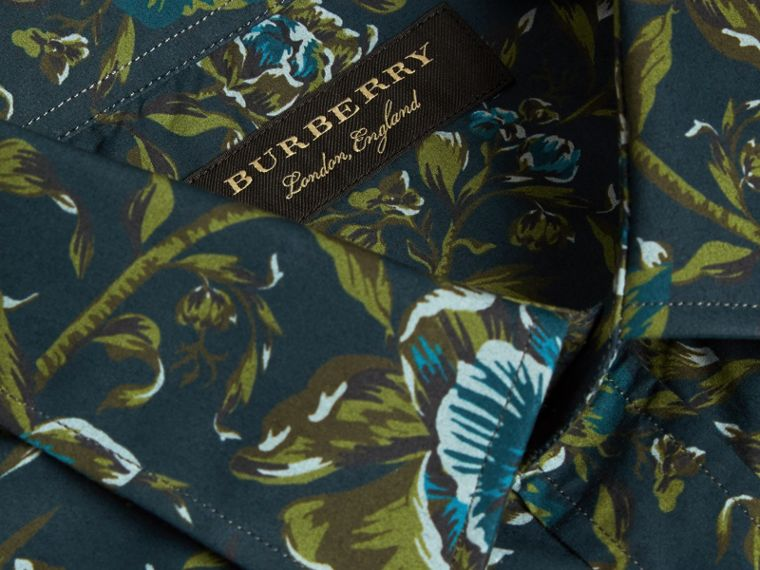 Dark teal green Peony Rose Print Cotton Poplin Shirt - cell image 1