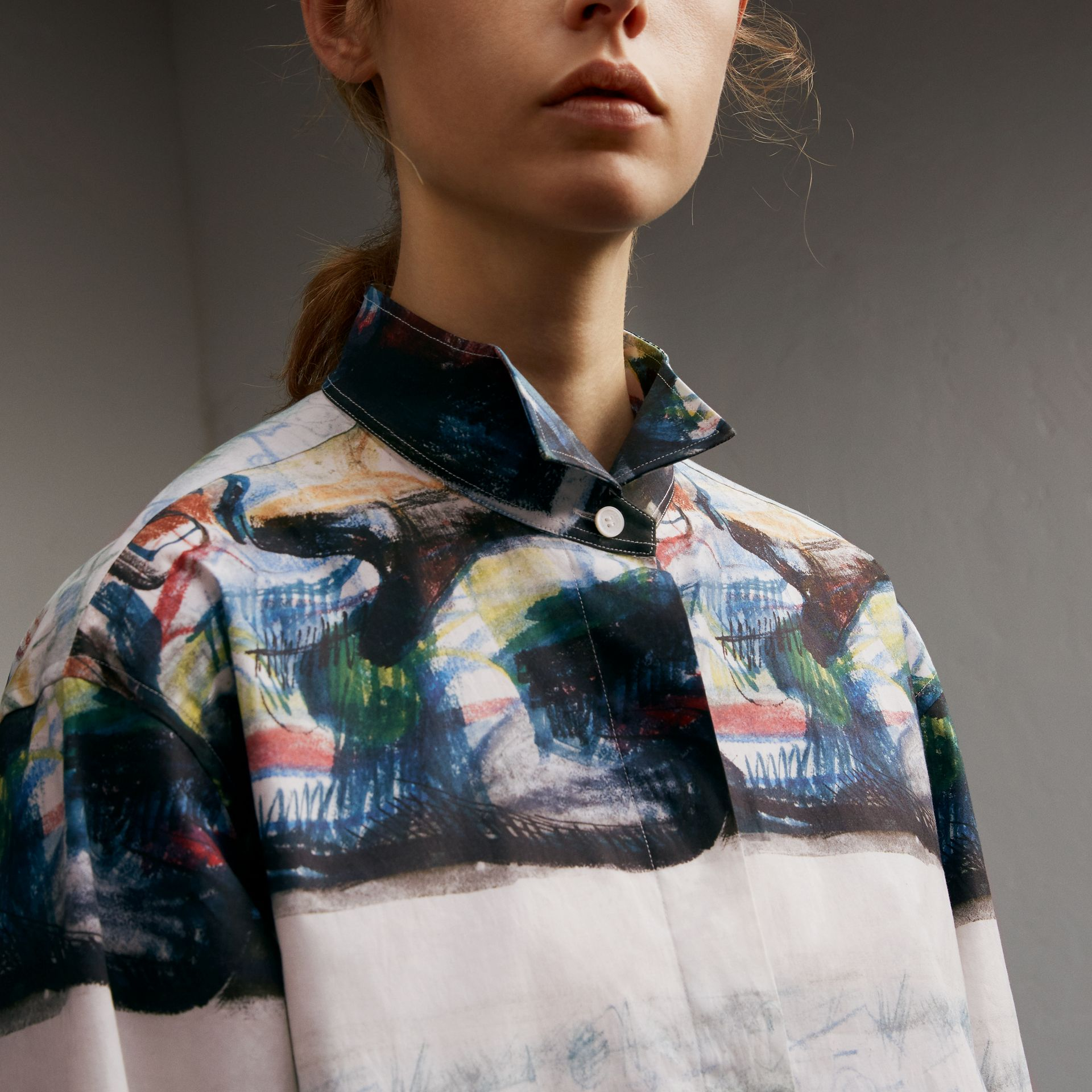 Reclining Figure: Bunched Print Shirt Dress - Women | Burberry Australia - gallery image 5