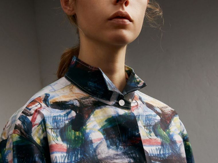 Reclining Figure: Bunched Print Shirt Dress - Women | Burberry Australia - cell image 4