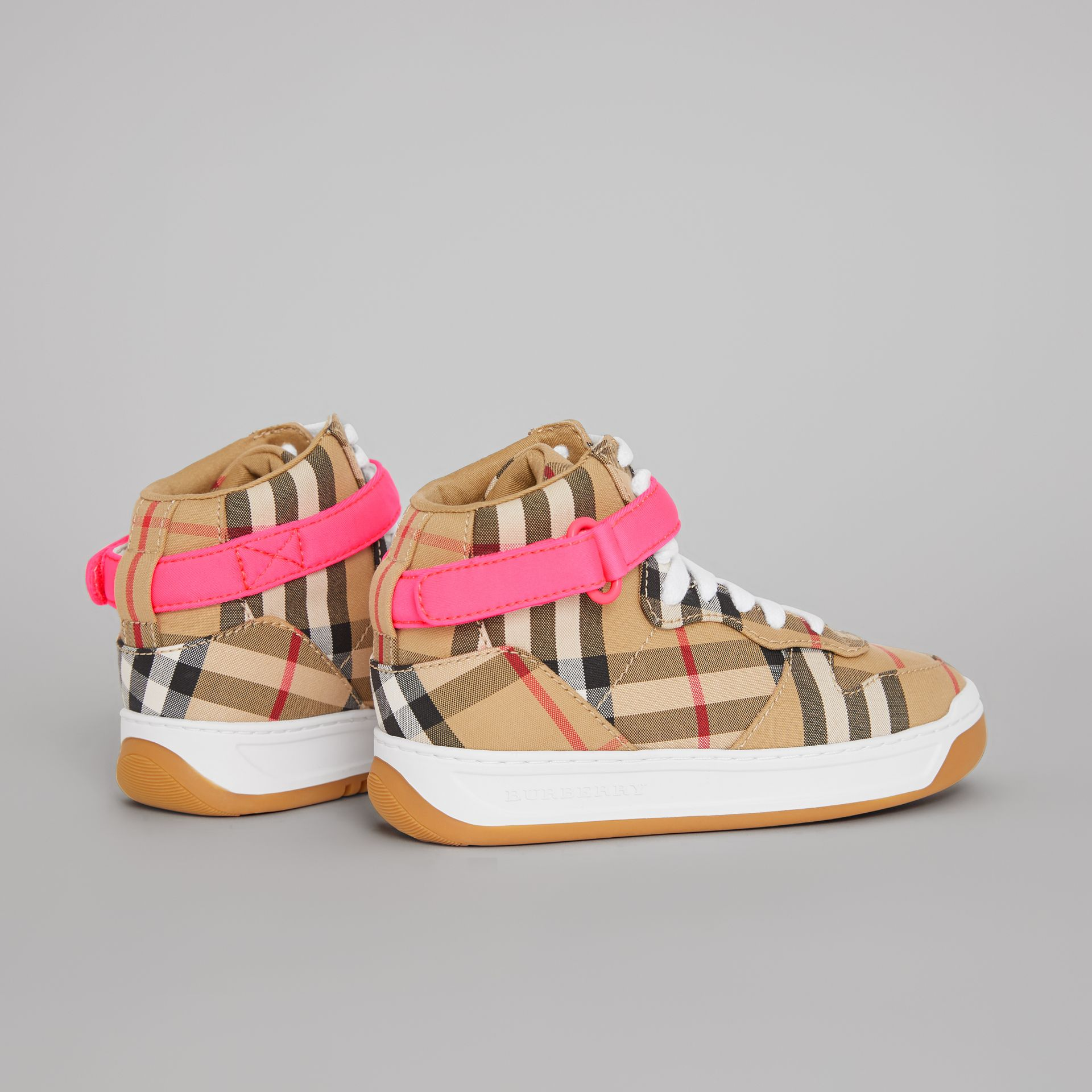 Vintage Check High-top Sneakers in Antique Yellow/neon Pink | Burberry Canada - gallery image 2