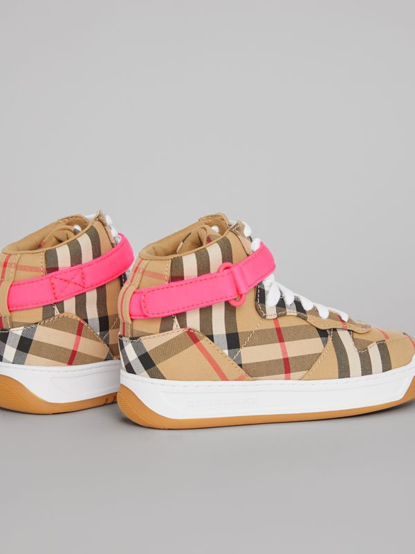 Vintage Check High-top Sneakers in Antique Yellow/neon Pink | Burberry - cell image 2