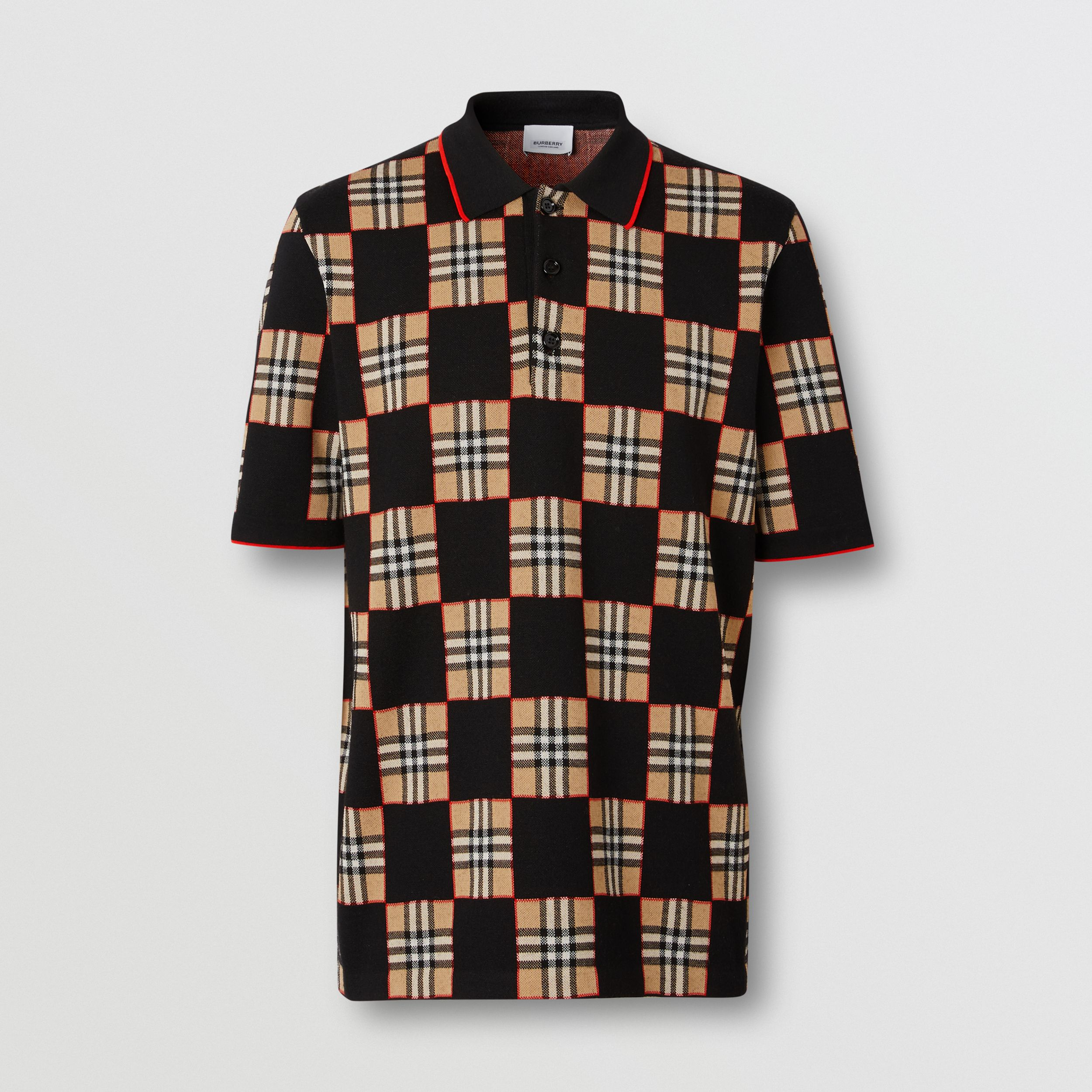 Chequer Merino Wool Blend Jacquard Polo Shirt in Archive Beige | Burberry - 4
